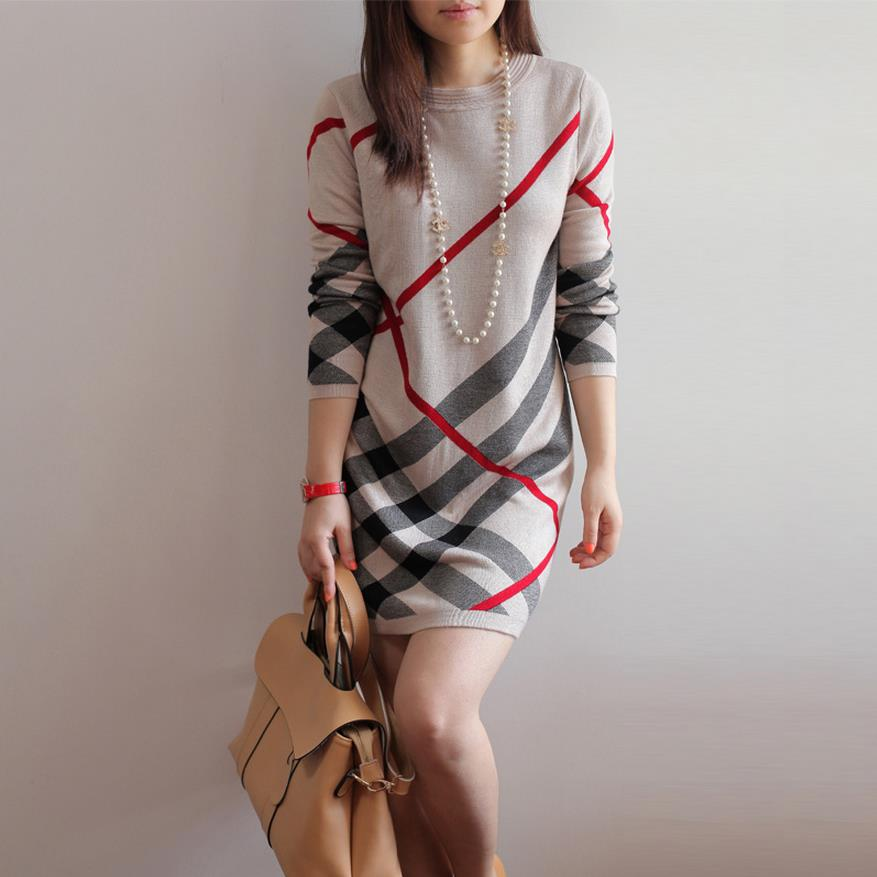 Women Spring and Autumn dress new 2016 women's wool knitted large size long-sleeve stripe one-piece warm wool dress W390