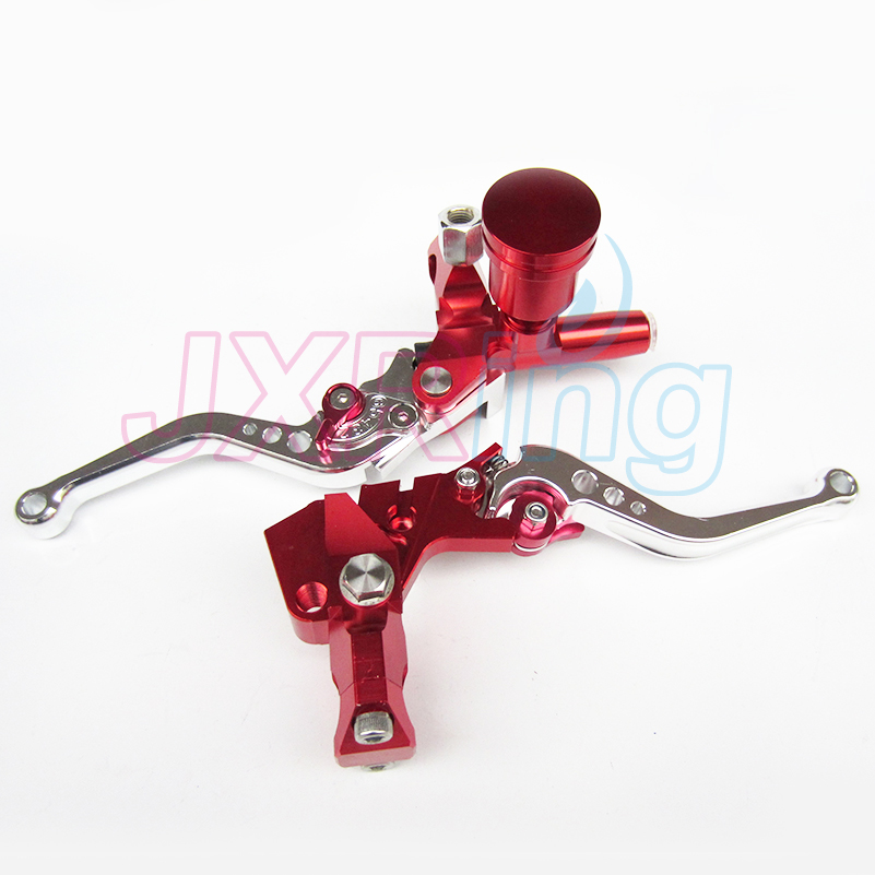 RED Motorcycle Left&Right Hydraulic Brake & Clutch Master Cylinder Lever With Oil Pump Fit CRF KXF YZF WR RMZ EXC Free shipping motorcycle hydraulic clutch brake pump m10x1 25mm black red blue silver gold