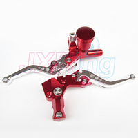 RED Motorcycle Left&Right Hydraulic Brake & Clutch Master Cylinder Lever With Oil Pump Fit CRF KXF YZF WR RMZ EXC Free shipping