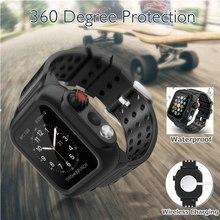 Dla Apple Watch Band SE Series 6 5 4 3 2 wodoodporna obudowa + pasek silikonowy do iWatch 44/40/42/38MM odporna na wstrząsy obudowa Shell bransoletka