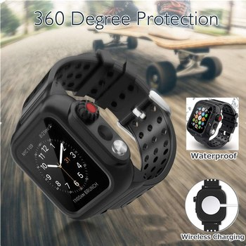 For Apple Watch Band SE Series 6 5 4 3 2 Waterproof Case+Silicone Strap for iWatch 44/40/42/38MM Shockproof Cover Shell Bracelet