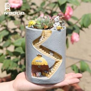 Image 4 - Roogo Resin Flower Pots Rabbit Home Garden Decoration FlowerPot Fairy House Succulents Plants For Desktop Decor Child Pen Holder