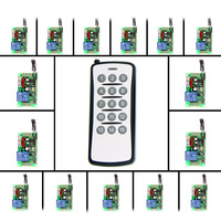 AC220V 1 CH 1CH RF Wireless Remote Control Switch System 15CH Transmitter 15 X Receivers Toggle