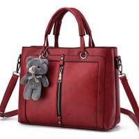 Luxury Women Leather Handbag Red Retro Vintage Bag Designer Handbags High Quality Famous Brand Tote Shoulder Hand Bag bear dolls