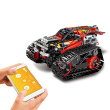 2019 New 2.4GHz RC Building Blocks Car DIY Building Kit Car Toy RC Tank RC Stunt Car APP Control Gravity Sensor(China)