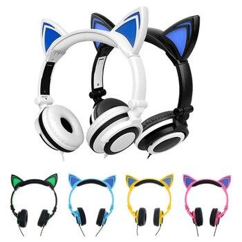 Новый светодиодный кошачьими ушками проводной милые наушники большой игровой светящиеся наушники гарнитура с микрофоном для iPhone samsung комп...