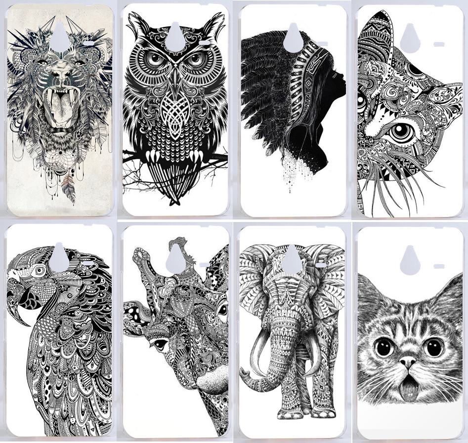 9 Patterns Drawing White And Black Animals Pc Hard Back Cover Case