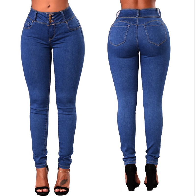 Womens Skinny High Waist Pants Stretch Slim Fit Jeans Pencil Trousers Plus Size