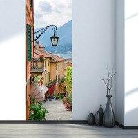 2 Pcs Set Creative DIY 3D Door Stickers Old Town Pattern For Kids Room Door Home