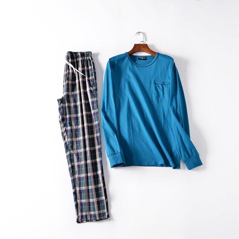 Pajamas For Men Autumn Long Sleeves Cotton Sleepwear Pyjamas Trousers Men Lounge Pajama Set