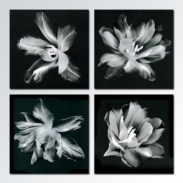 4 teile/satz Schwarz weiß sicht Blumen Dekoration Leinwand Malerei ...