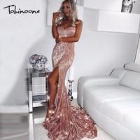 Tobinoone Sexy Elegant Women Maxi Dress Shining Long Clubwear Sequin Dress Sexy Split Off Shoulder Floor Bodycon Party Vestidos