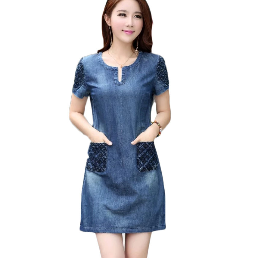 Gut gemocht 2016 Summer Style Women Embroidery Pocket Jean Dress Female lady  DL78