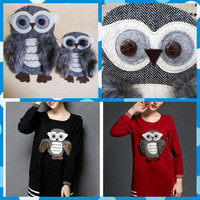 Free Shipping 2pcs Lot Night Owl Cloth Patches Sew On Stickers DIY Mending Repair Family Parent