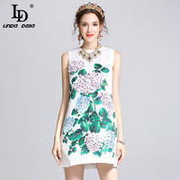 High Quality 2017 Runway Summer Dress Women S Elegant Sleeveless Vest Casual White Jacquard Floral Print