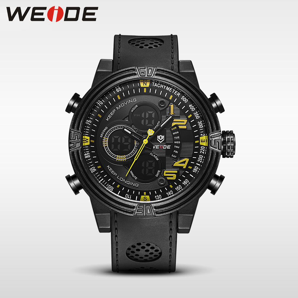 WEIDE New  Quartz Casual Watch Army Military Sports Watch Waterproof Back Light Men Watches alarm Clock electronic wrist watches weide 2017 new men quartz casual watch army military sports watch waterproof back light alarm men watches alarm clock berloques