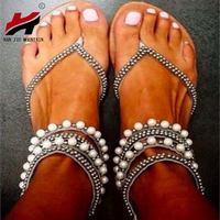 NAN JIU MOUNTAIN Shoes Woman Summer Fashion Ankle Strap Beaded Women  39 s Flat  Sandals Plus Size 34-43 7102af2ab29e