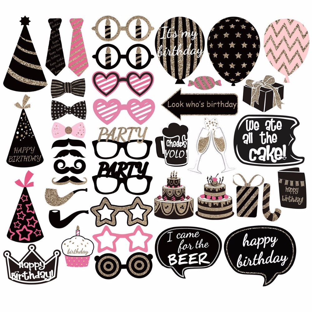 41pcs funny happy birthday photo booth props diy kits for Decoration kit