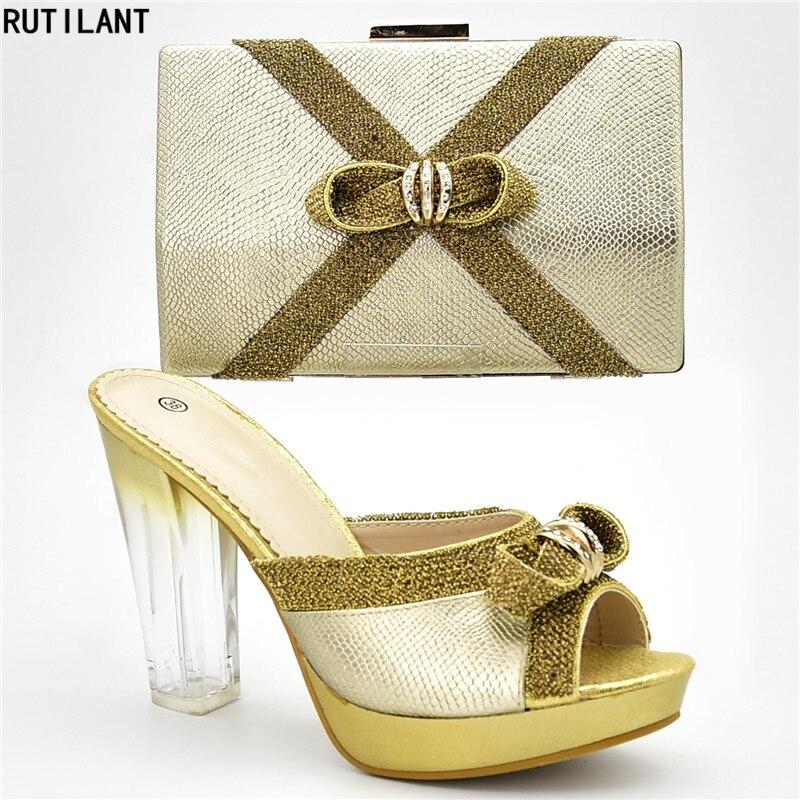 verziert Set Damen afrikanische Ankunft Designer und Nigerian Neue Woen mit Strass Pumps Party Schuhe Luxus SchwarzSplitterGoldLilaRot Tasche qAR54LjSc3