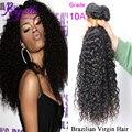10A Brasileiro Virgem perucas de Cabelo Brasileiro Cabelo Encaracolado Kinky 3 pçs/lote Graça Extensões de Cabelo Humano Feixes de Cabelo Humano perucas baratas