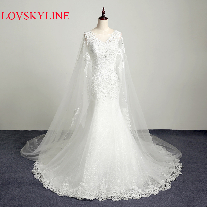 2017 new in stock real photo lace cloak yarn bandage sleeveless crystal wedding dress