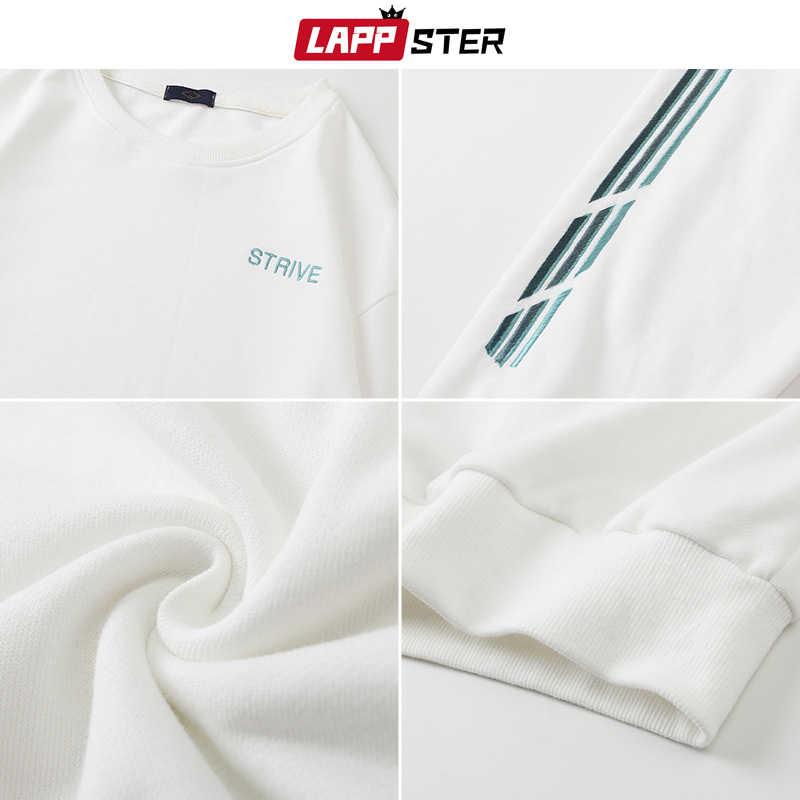 LAPPSTER Men Striped Japanese Streetwear 후드 티 스웨터 2020 Mens 하라주쿠 힙합 스웨터 남성 한국어 Black Hoodies