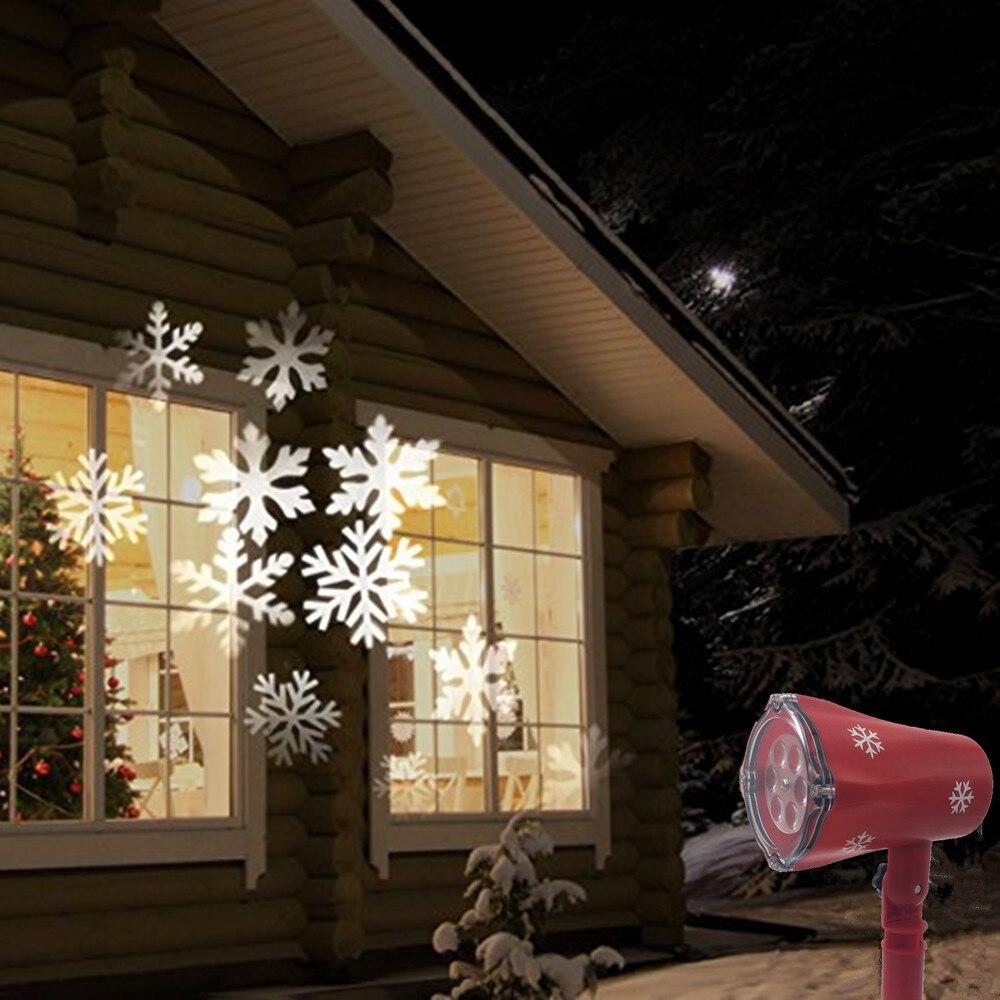 6e3cb8cdc25 o0o Impermeable IP65 móvil de nieve proyector lámparas Snowflake LED etapa  luz para la fiesta de Navidad paisaje luz del jardín de la lámpara al aire  libre ...