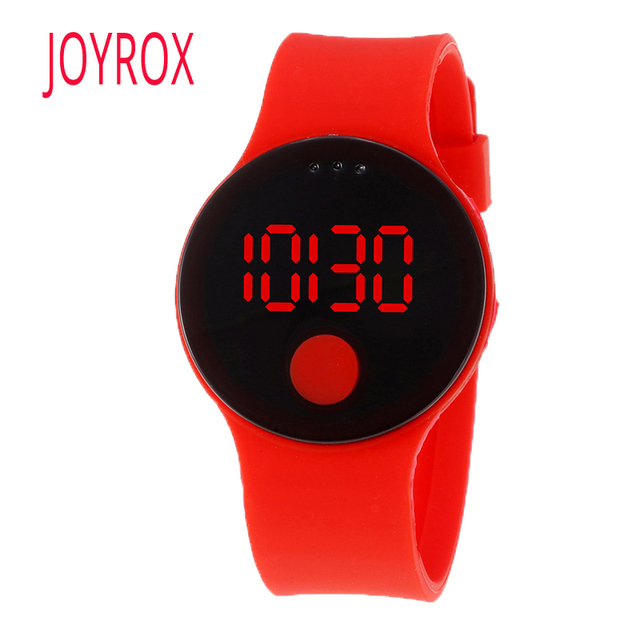 JOYROX ребенок часовой моды Водонепроницаемый светодиодный часы для девочек и мальчиков ультра-тонкий Дизайн силиконовый ремешок дети часы детские часы