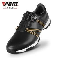 Men Genuine Leather Golf Shoes Patent Design Waterproof Athletic Golf Shoes Male Rotating Shoeslace Training Shoes AA51041