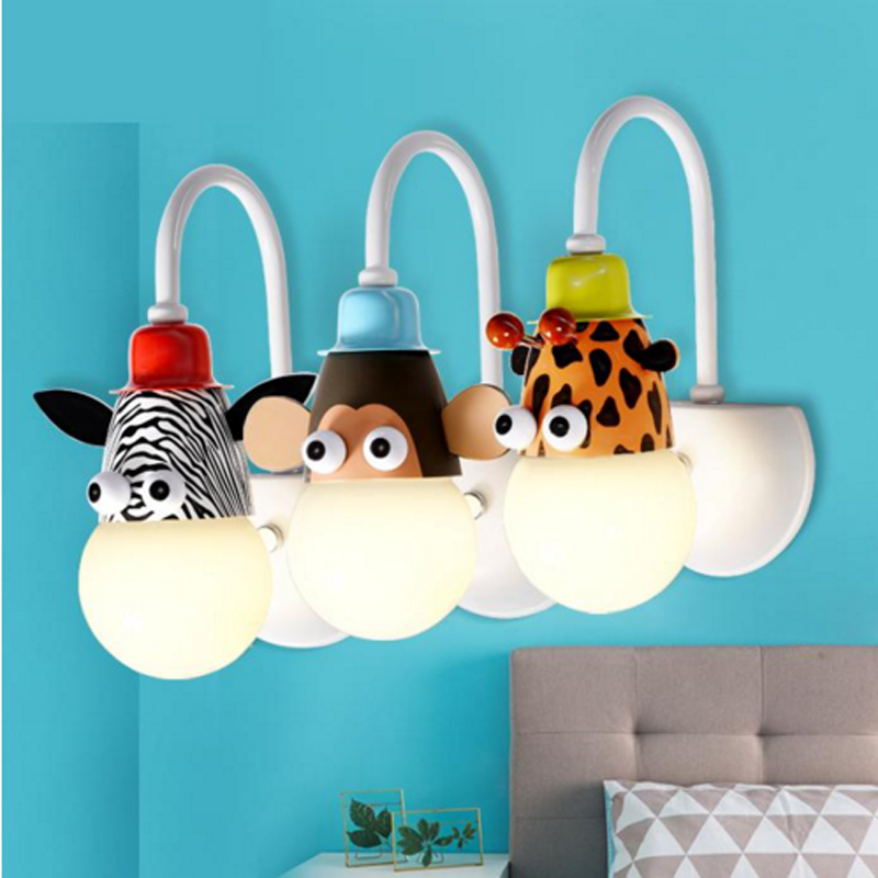 Creative bedside cartoon children's lamp room decoration animal personality boy girl LED baby bedroom lovely wall lamp cartoon boy girl design resin desktop decoration