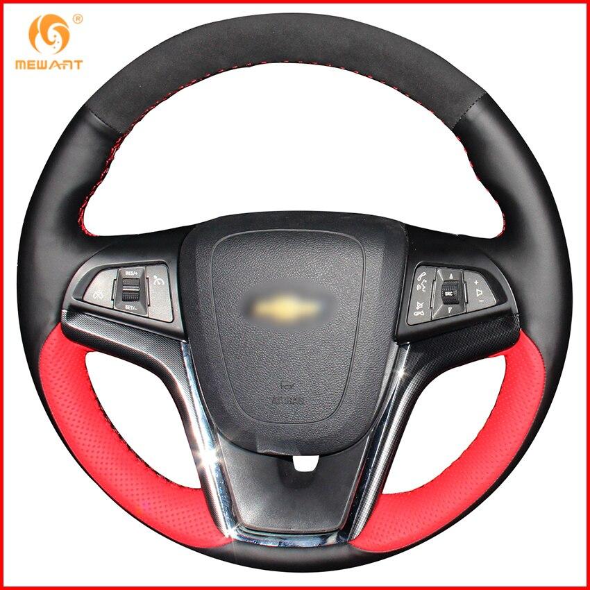 Aliexpress Com Buy Mewant Black Genuine Leather Black: MEWANT Black Red Genuine Leather Black Suede Car Steering