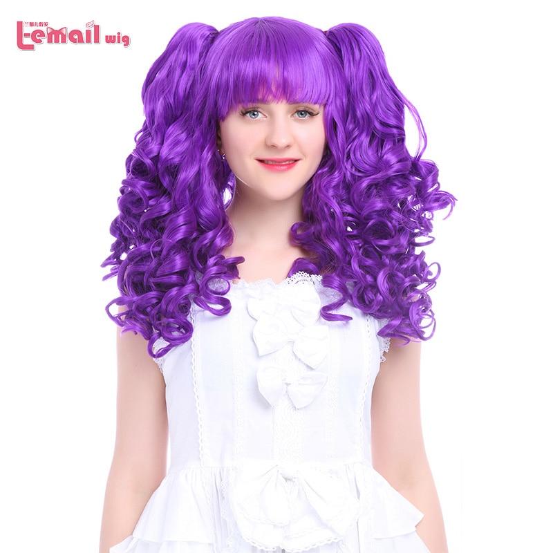 Парик л-электронной 24 inch 60 см длинные Косплэй Искусственные парики 7 цветов волнистые черный, красный синий Синтетические волосы Perucas Косплэ...