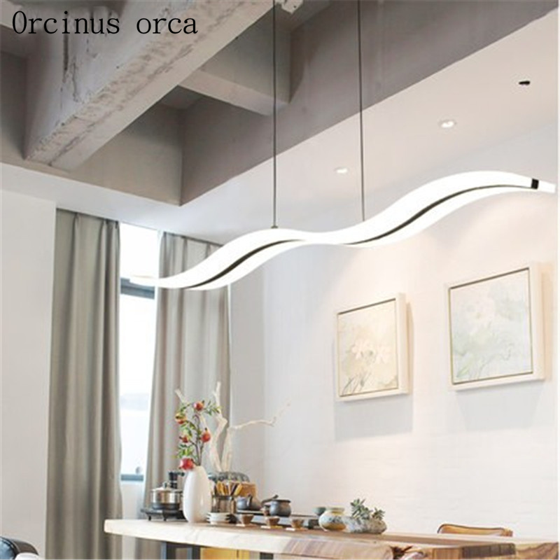 Creative modern led dining room dining room chandelier personality simple atmospheric line lamps
