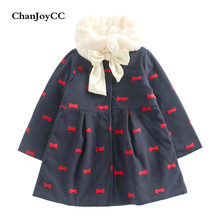 ChanJoyCC Winter Hot Sale Children's Coat Baby Girls Long Sleeve Fashion  Bowknot Print Thickening Warm Outerwear For Kids