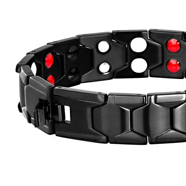 LITTLE FROG Health Magnetic Therapy Bracelet Men Jewelry Black 2