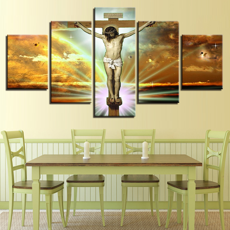 Modern HD Printed Wall Art Frame Canvas Pictures 5 Pieces Jesus ...