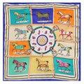 100% Silk Scarf Women Scarf Horse Scarf Silk Bandana 2017 Foulard Neckerchief Print Small Square Silk Scarf Luxury Gift for Lady
