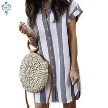 Ameision 2019 New Women Summer Shirt Dress Loose Short Sleeve Button Striped Dresses Ladies Casual Mini Vestidos