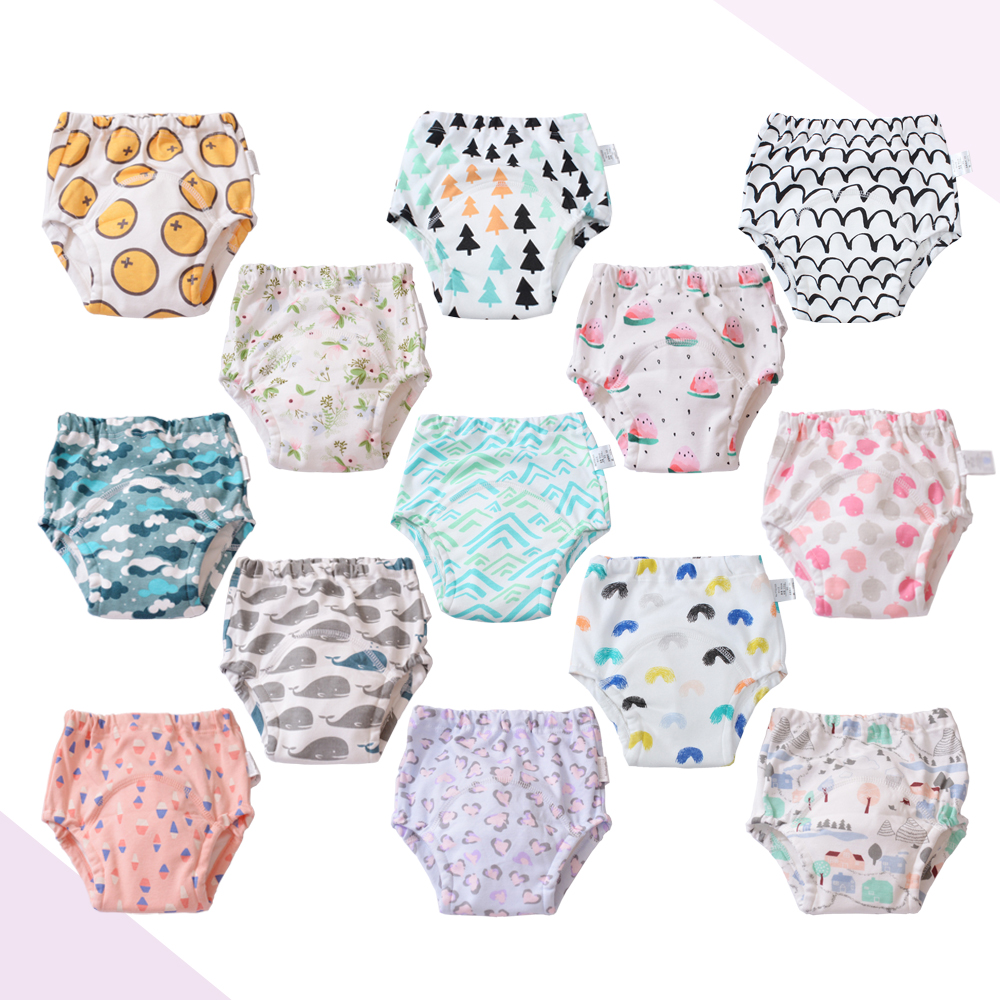 1 Pc Cute Baby Kids Infant Reusable Toilet Potty Training Pants Cotton Underwear For Newborn Diapering And Toilet Training