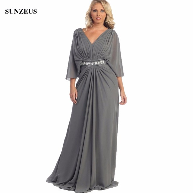 Elegant V-neck Three Quarter Sleeve Long Grey Mother Of The Bride Dress With Flowers Beaded Waistline Women Caftan Party CM057