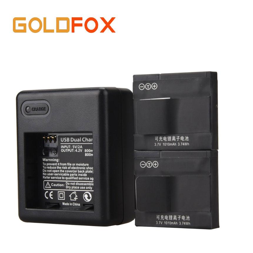 for Xiaomi Yi 2pcs 1010mAh Li-ion Battery for Xiaomi Yi Sport Action Camera DV Cam With Charger