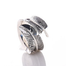 EDI 100% 925 Sterling Silver Vintage Feather Adjustable Rings for Women Classic Designs Feather Sterling Silver Rings Gifts