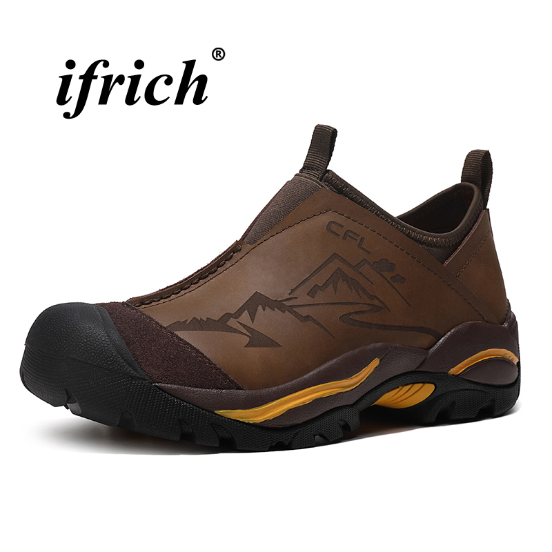 Man Hiking Shoes Genuine Leather Slip-on Sneakers for Male Black Brown Mountain Shoes Man Spring Autumn Anti-slip Trekking Shoes 2018 spring male genuine leather eagle print 56 60cm black brown baseball caps for man casual street glof gorras dad hat ry119
