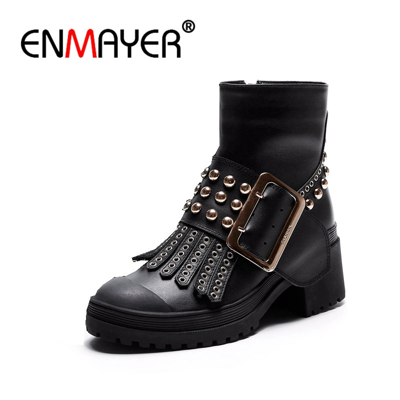 ENMAYER 2018 Brand Design Shoes Women Genuine Leather Cool Rivet Buckle Strap Motorcycle Boots Ankle Boots Zip Square Heel CR336 2017 genuine leather women ranger boots famous designer motorcycle fashion work brand shoes zip front design ankle short booties
