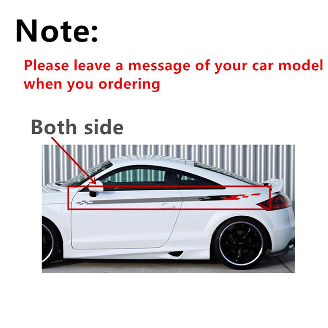 Car styling both side waist lines decals stickers racing sport car body decoration vinyl stickers for