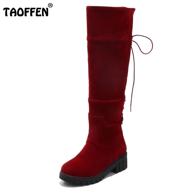 TAOFFEN Size 34-43 Sexy Women Half Short Boots Cross Strap High Heel Boots Warm Shoes Women Mid Calf Boots For Women Footwears taoffen women genuine leather flats snow boots women metal buckle mid calf boots warm fur shoes for women footwears size 34 39