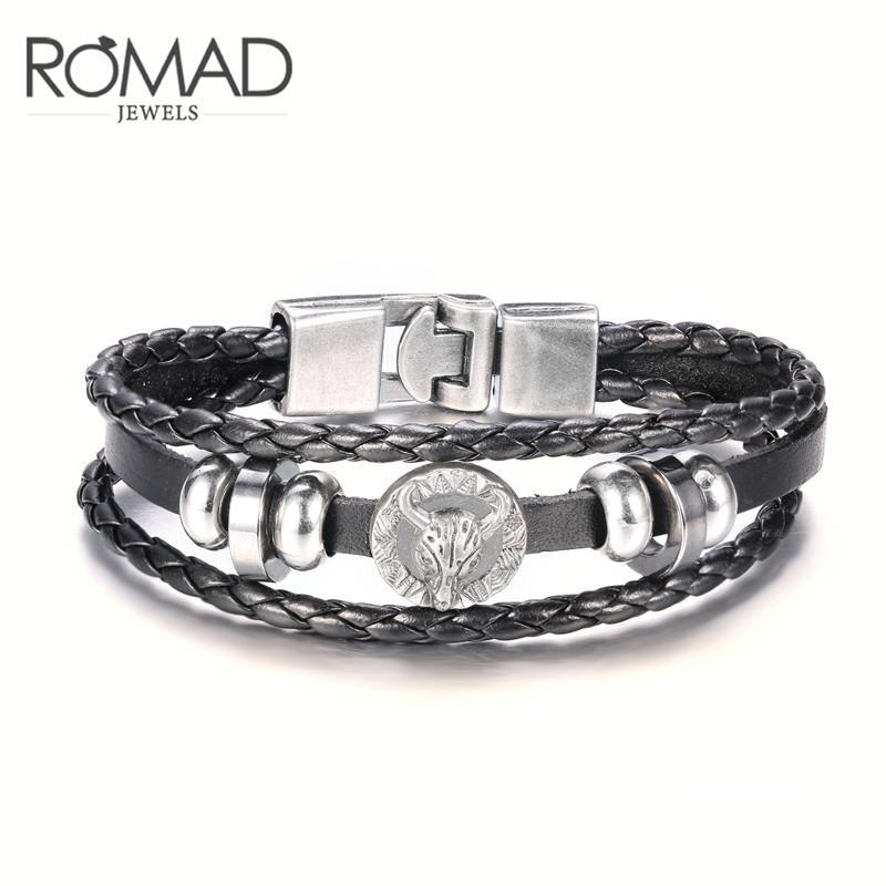 ROMAD Bull Head Leather Bracelet for Men Antique Cow Boy Western cattle Bracelets Two Color Men Leather Bracelets Punk R4