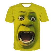 Shrek Casual fashion Men 's short – sleeved 3D digital printing T shirt Men's Fashion 3D Exaggerated facial expressions T-Shirts