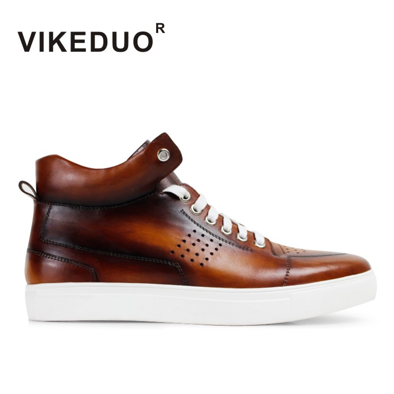 VIKEDUO 2019 Autumn Winter New Men s Ankle Boots Genuine Leather Handmade Shoes Men Lace up