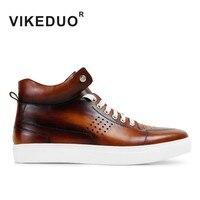 VIKEDUO 2019 осень зима новые мужские ботильоны из натуральной кожи ручной работы туфли мужские на шнуровке модные коричневые ботинки мужские